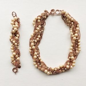 J.Crew Pearl and Mixed Metal Necklace + Bracelet